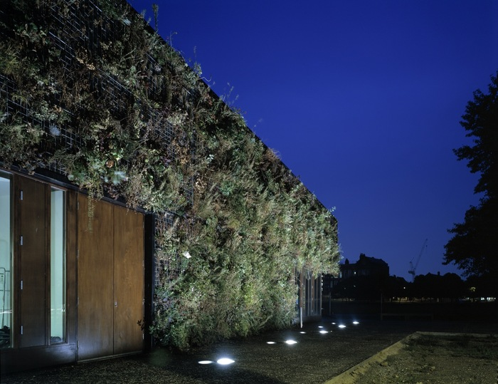 green wall lighting. View Of Green Wall At Night Lighting